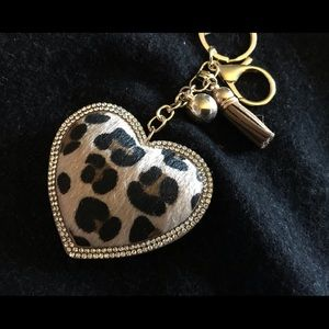 Heart-shaped Key Ring with Bling